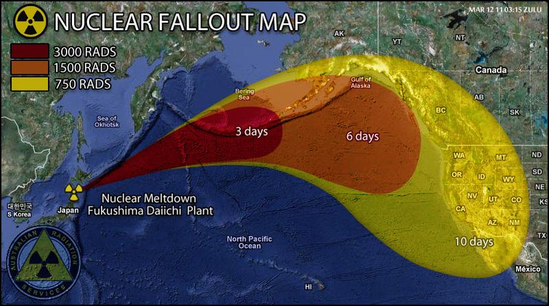 Disaster in Japan Japannuclearfalloutmapcanadabcabskwestcoastunitedstateswashingtoncalifornia