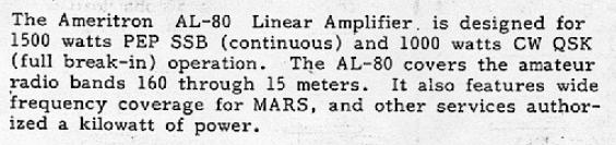 Amplificateur HF : Bien regarder les caractéristiques des composants (tube ou transistor de puissance) avant l'achat Caracteristiques-al80