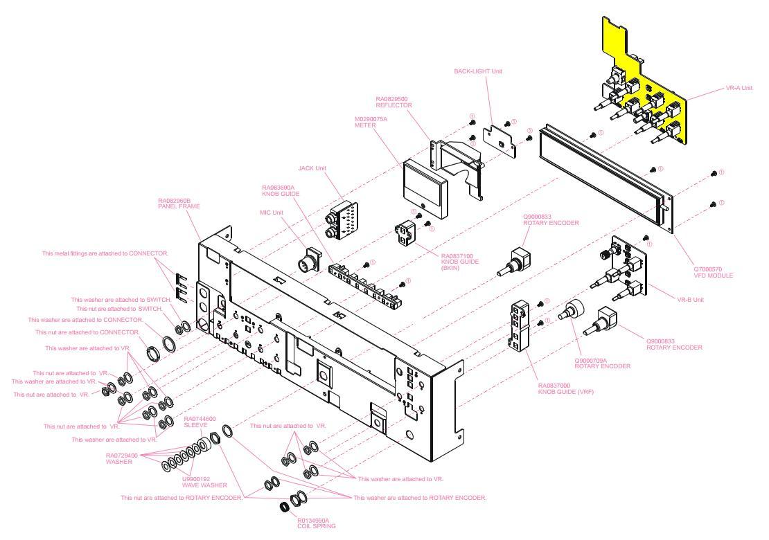 FT2000 Yeasu : Panne / Défaut de fonctionnement du volume Face-avant-et-vr-a-unit