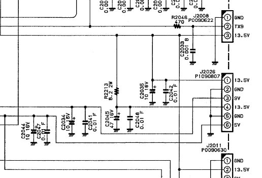 FT840 Yaesu : Panne totale - L'émetteur-récepteur ne s'allume pas (uniquement rétroéclairage du S-mètre) Localisation-composant-schema