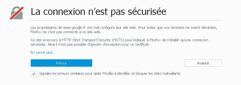 """Blocage Navigateur Firefox : Message """" La connexion n'est pas sécurisée """"  Cnx-non-secu-kaspersky"""