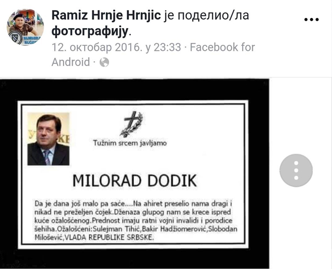 Ko кopисти,, Пpaвду зa Дaвидa,, зa дecтaбилизациjy PC Dodik-posmrtnica