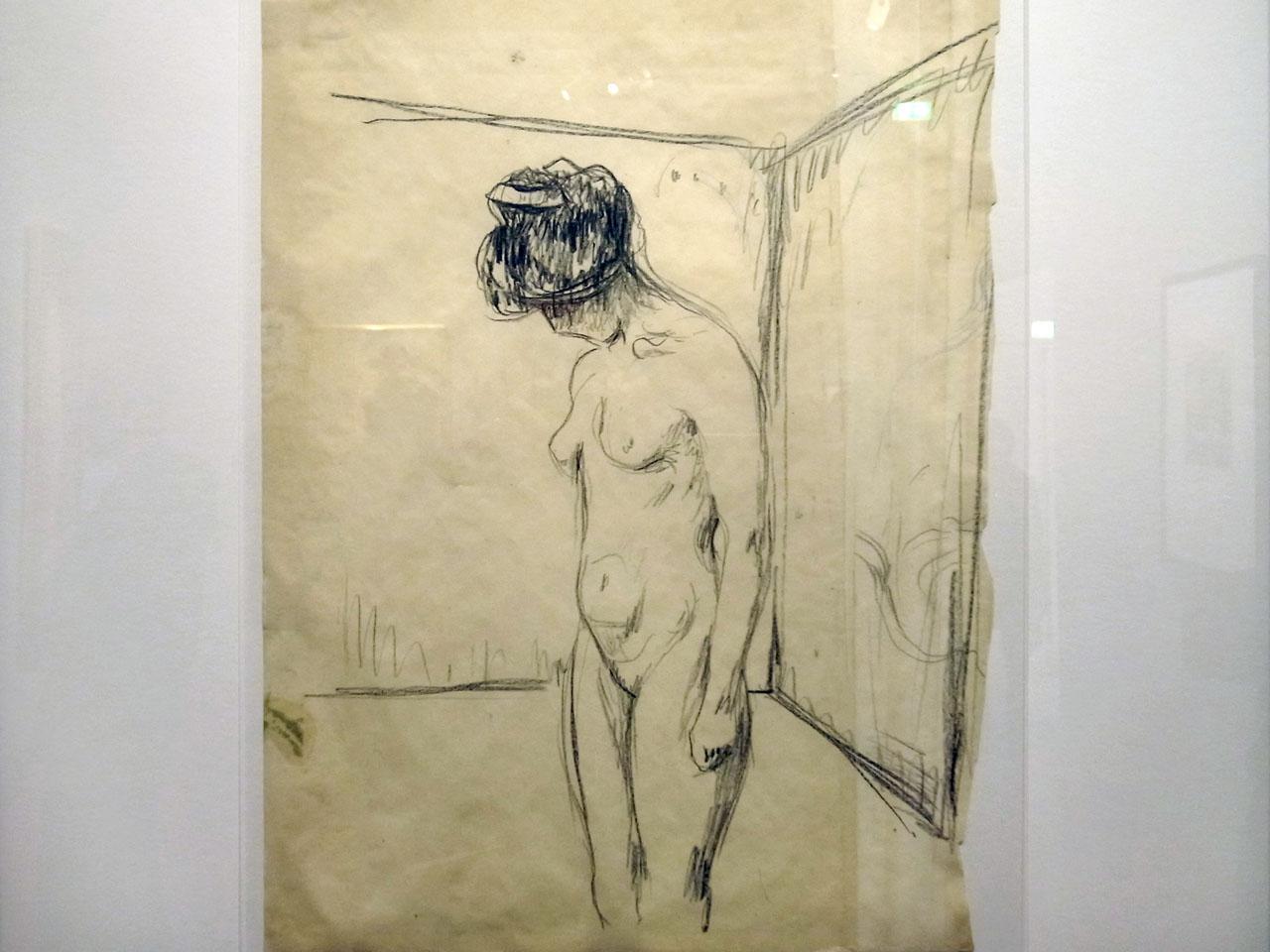 ce que voit le peintre et ce qu'il nous envoie Munch-nu-dessin