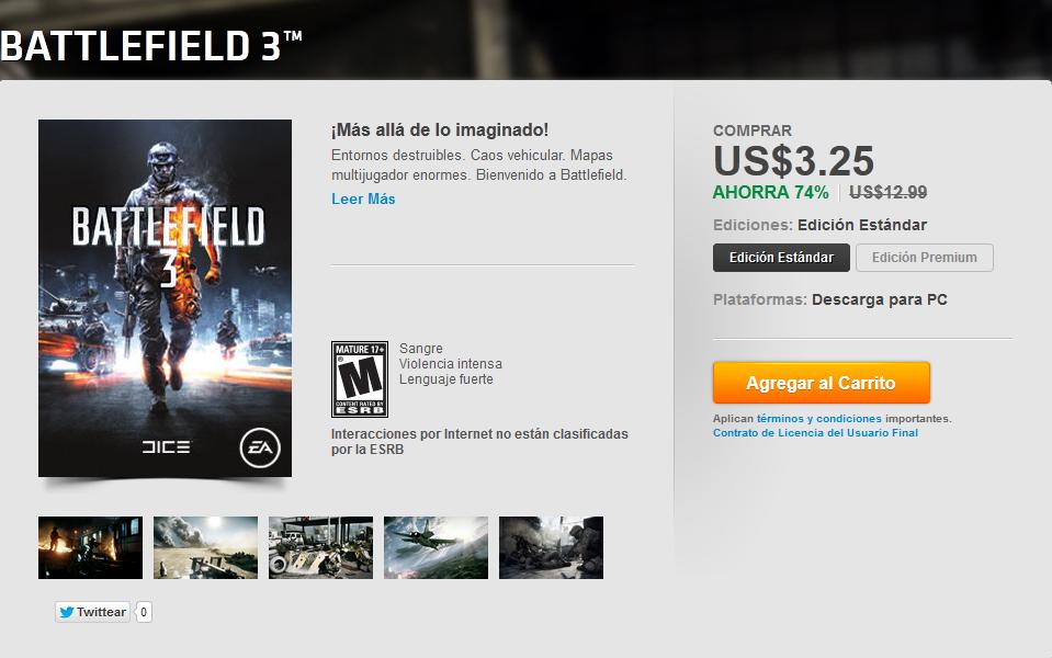 [Oferta] Battlefield 3 Origin $3.25 E73