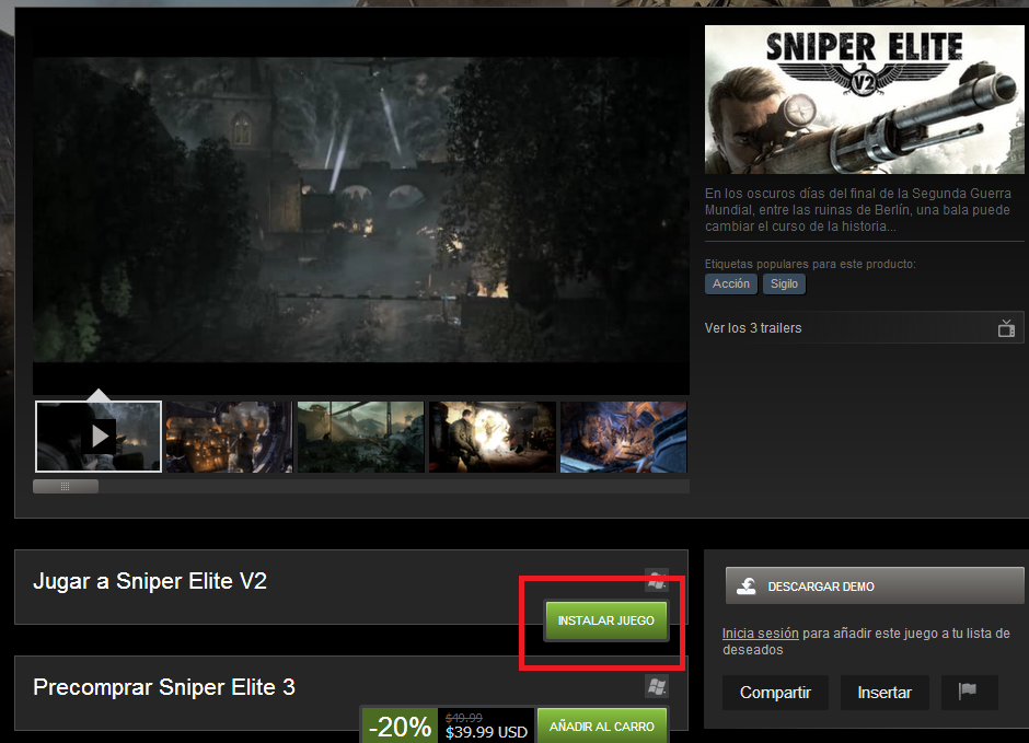 Sniper Elite V2 en descarga gratuita en Steam B85