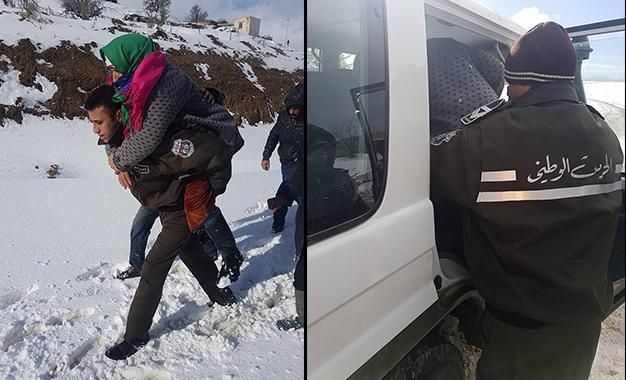 Froid et neige: Des ministres à Aïn Drahem pour constater les dégâts Kef-garde-nationale-sauvetage-neige