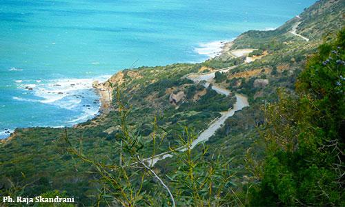 Cap Bon : Un piton rocheux appelé Bec de l'Aigle Vu-de-la-montagne-de-Korbous