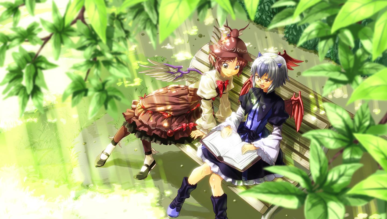 Spam-thread voor goeie fanart Konachan-com-86724-animal_ears-book-boots-dress-hat-horns-mystia_lorelei-shiba_itsuki-tokiko-touhou-wings
