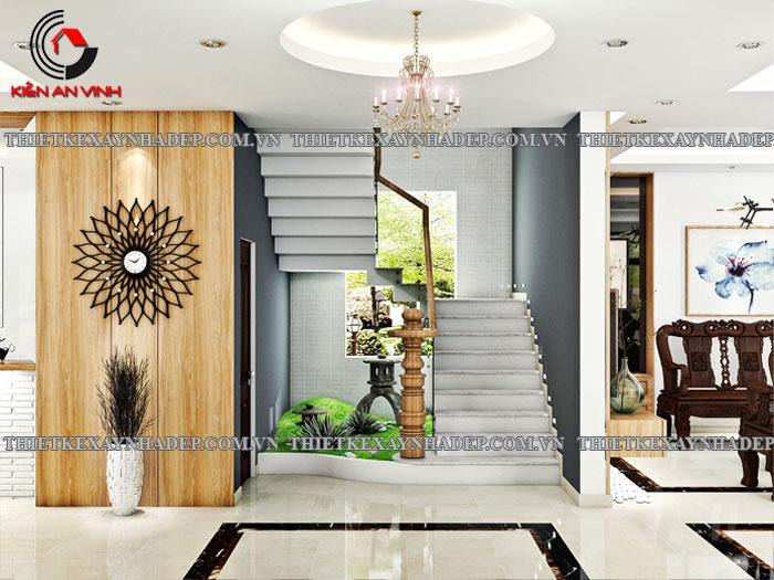 Mẫu thiết kế biệt thự 2 tầng Vincom Village đẹp diện tích 150m2 Cau-thang-tieu-canh