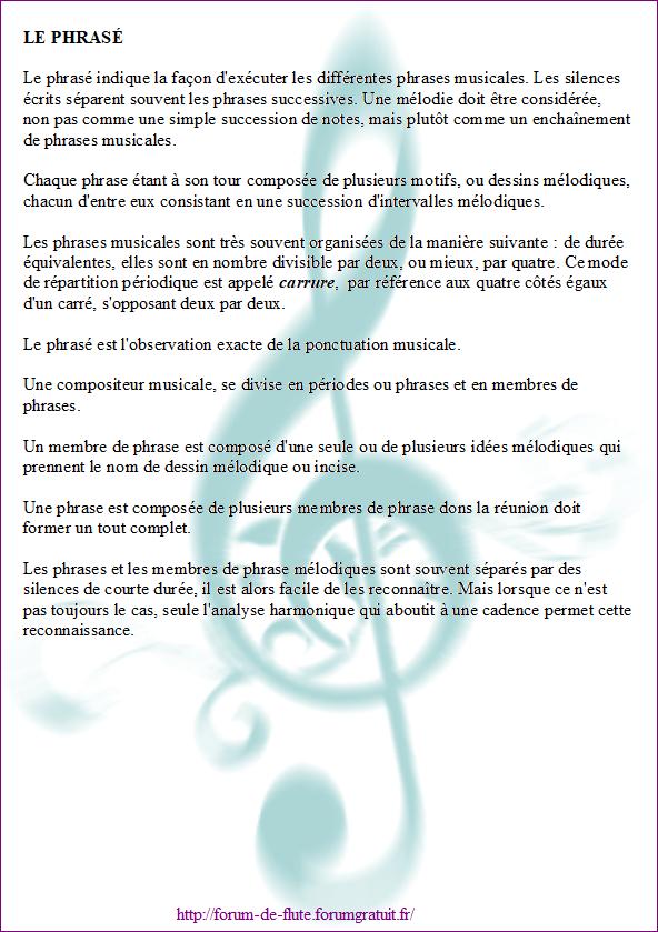 3°) Le phrasé Phrase