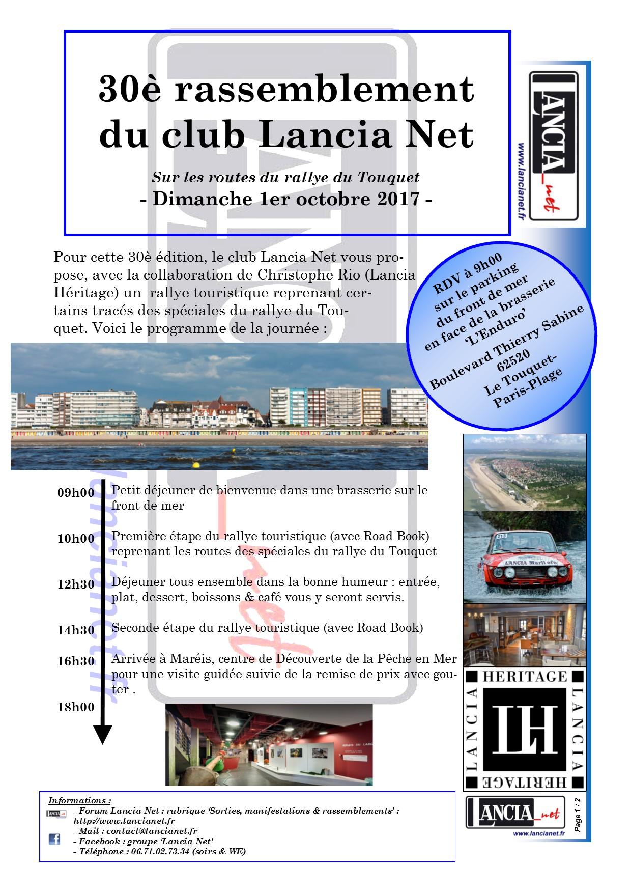30è rassemblement Lancia Net, dim 1er oct 2017 au Touquet Programme