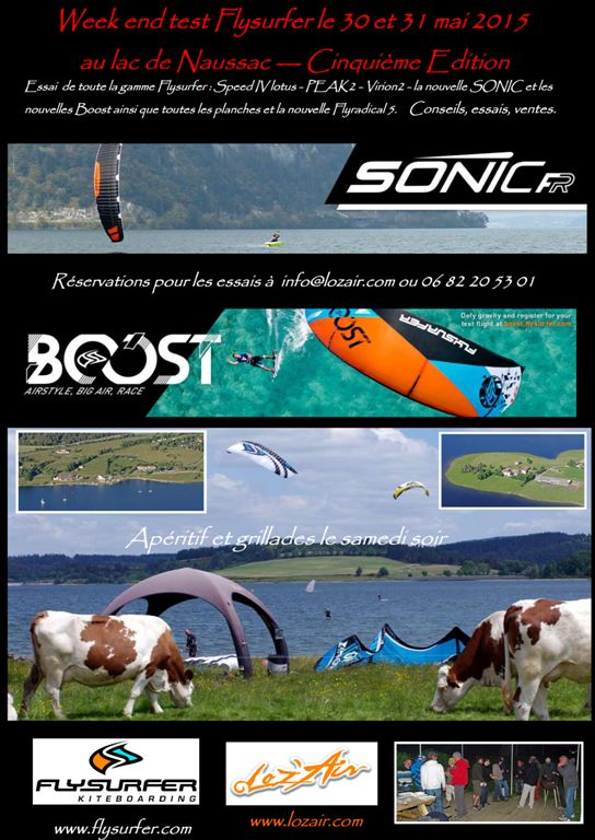 WE Test Flysurfer - Lac de Naussac - WE 30-31 mai 2015 Lozfly15