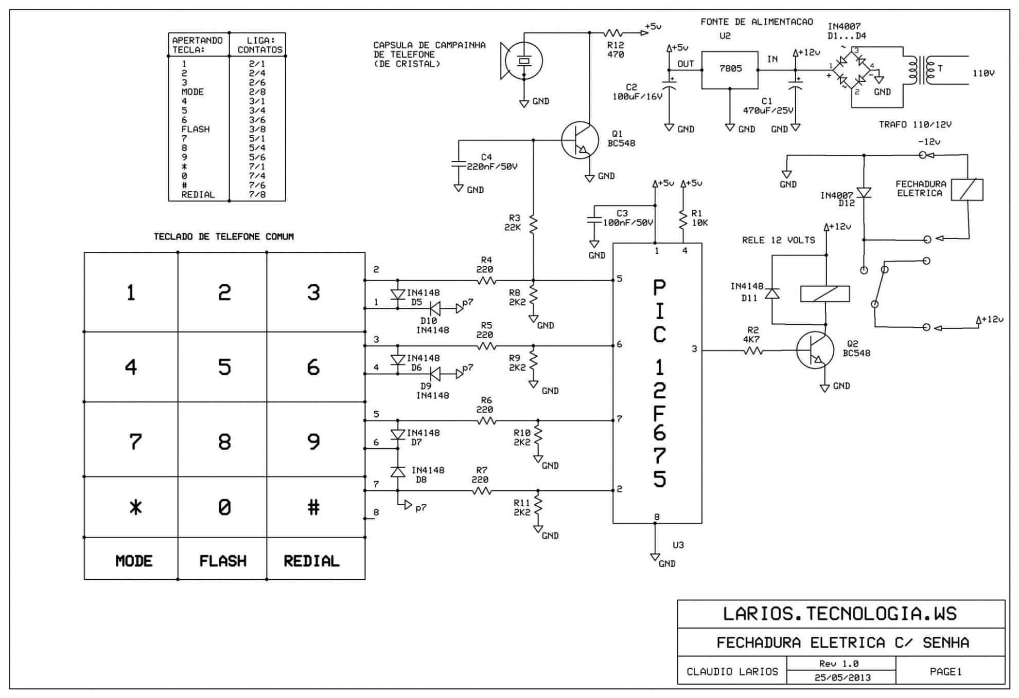 Circuito simples de senha com pic e sem display  SENHA_FECHADURA