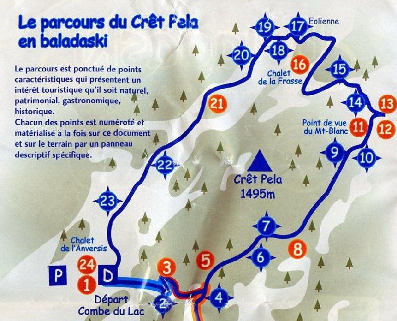 """Une """"baladaski"""" d'Hélène - Le tour du Mont Pela - 20 février 2010 Plan"""