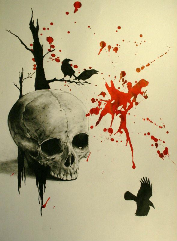 [Jeu] Association d'images - Page 19 Dessin-crane-corbeau-realiste-de-tatouage