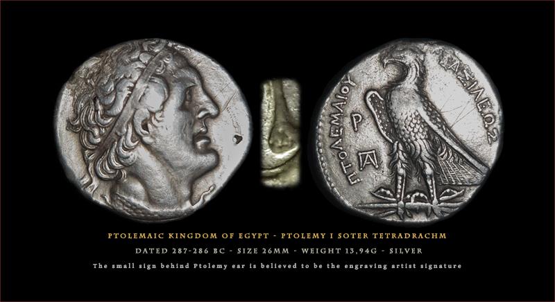 Tétradrachme de Ptolémée I Soter et signature du graveur 800-ref_egyp_1a