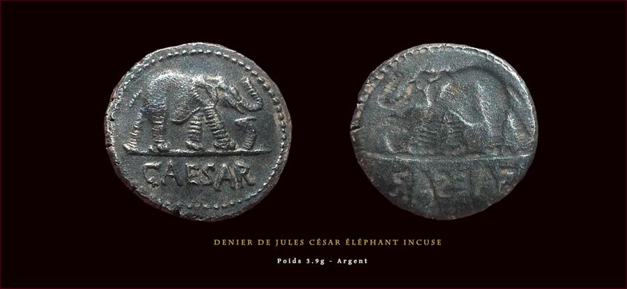 Denier de Jules César éléphant avec un rev. Incuse Ref_roma_9qs8