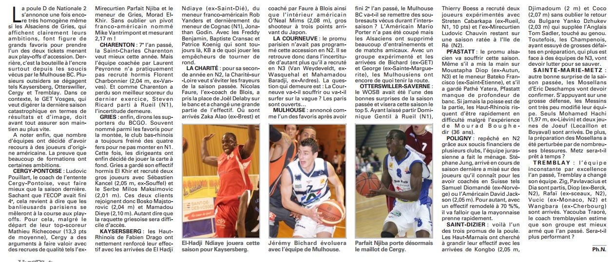 Equipe, Calendrier et Résultats du FCM 120921-Vosges