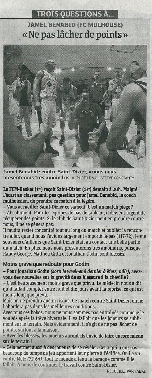 [J 16] FCMB - ST DIZIER : 100 - 80 14-STDZ