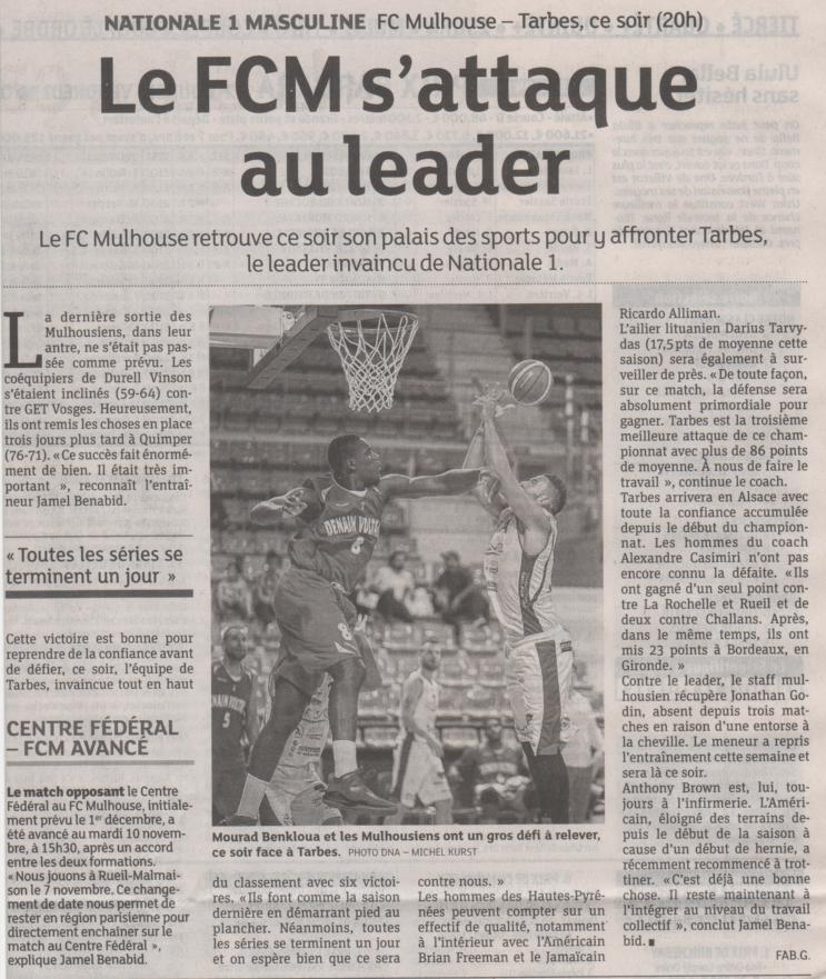 [J.07] FC MULHOUSE - Union Tarbes Lourdes Pyrenees Basket : 91-85 2015-10-30%20DN