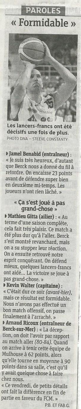[Play-Offs] Game #2: FCMB - Berck: 62-59 Berck2-2