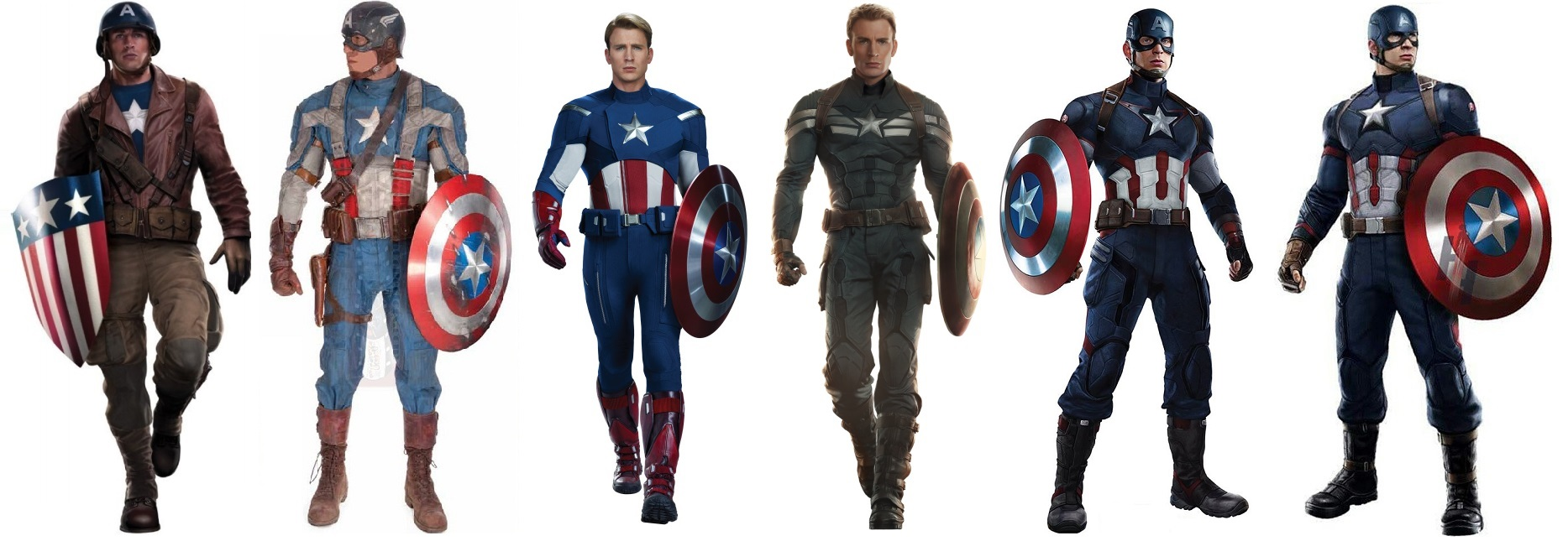 Captain America : Civil War [Marvel - 2016] - Page 4 Captain-america-costume-uniform-evolution-movie-avengers-civil-war