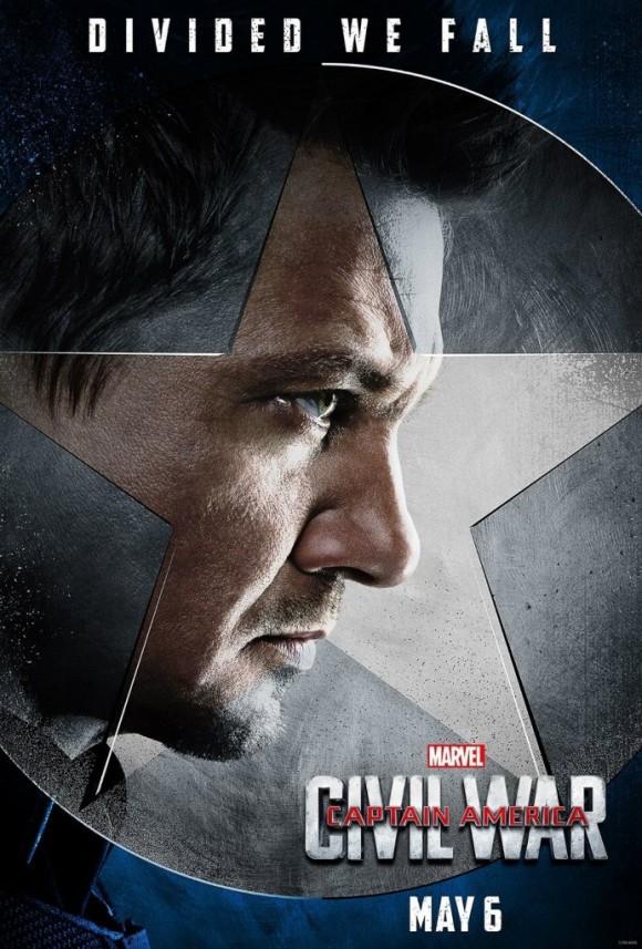 CAPTAIN AMERICA CIVIL WAR  - Page 10 Captain-america-civil-war-poster-hawkeye-580x857