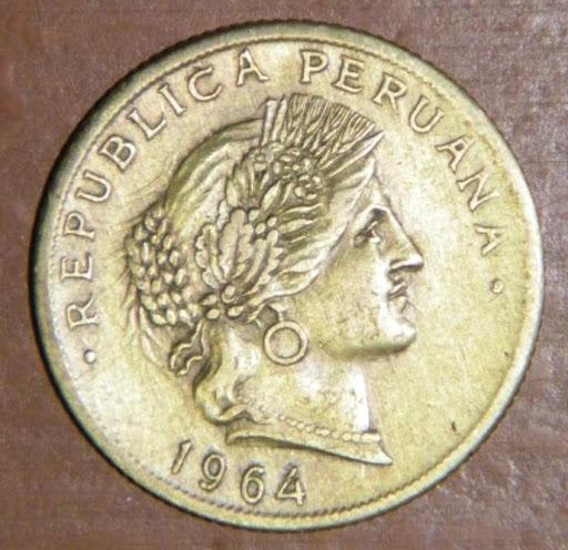 Perú, 20 centavos, 1964 (incusa). Dibujo