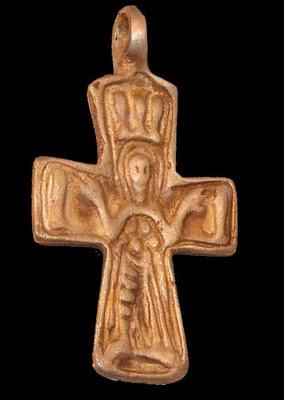 Cruz Enkolpio bizantina Virgen PLATYTERA con los peces A4