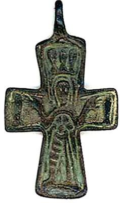 Cruz Enkolpio bizantina Virgen PLATYTERA con los peces A6