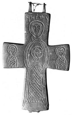 Cruz Enkolpio bizantina Virgen PLATYTERA con los peces 54