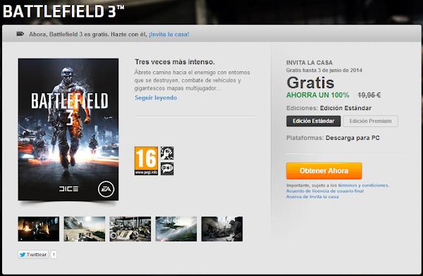 [Noticia] Battlefield gratis en Origin InvitaBattlefield3