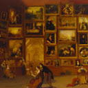 """famous - A Google A Day - Before I sent my first message, """"What hath God wrought!"""" via my invention, I painted a piece that consisted of 38 miniature copies of famous works. What was my piece titled? Image_answer_130x130_Galleryofthelouvre"""