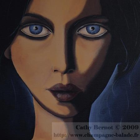 La  FEMME  dans  l' ART - Page 4 Tableau-peinture-toile-acrylique-portrait-bleu-artiste-peintre