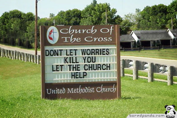 Religion In A Nutshell Funny-Signs-Church