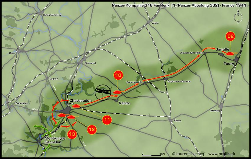 1- La Panzer Kompanie 316 (1/Panzer Abteilung 302)- France 1944 Chateaudun-france