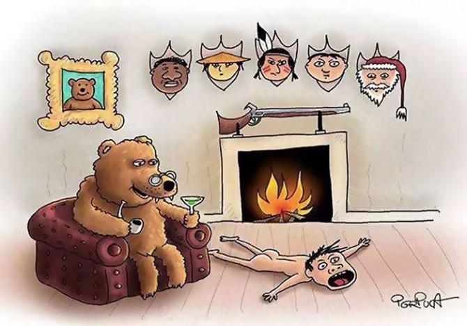 ZHIVOTNI I LUGJE Satirical-animal-rights-illustrations-parallel-universe-32-571a2527d2550__700-670x469