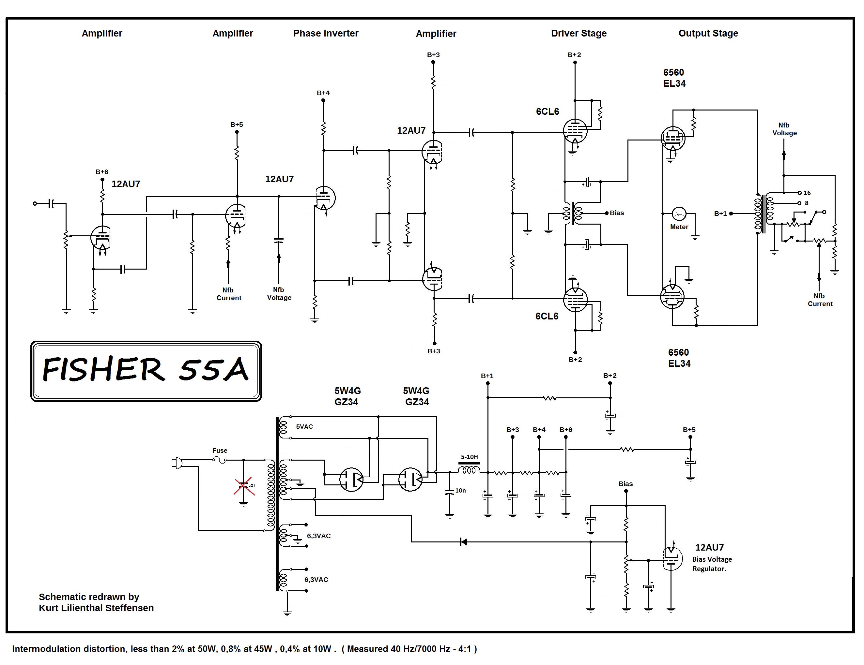 USA. VINTAGE (50,s-80,s) - Página 2 Fisher-55A-EL34-PP-ed