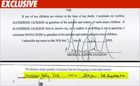 """La famiglia Jackson denuncia l'Estate: """"Il testamento è falso!"""" 1021_mj_will_sig_03_hilite_ex_02-1"""
