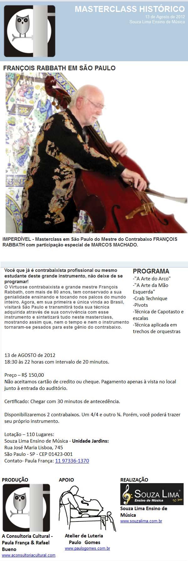 Masterclass do grande contrabaixista François Rabbath - São Paulo, dia 13/8/2012 - Imperdível! Emailrabbath