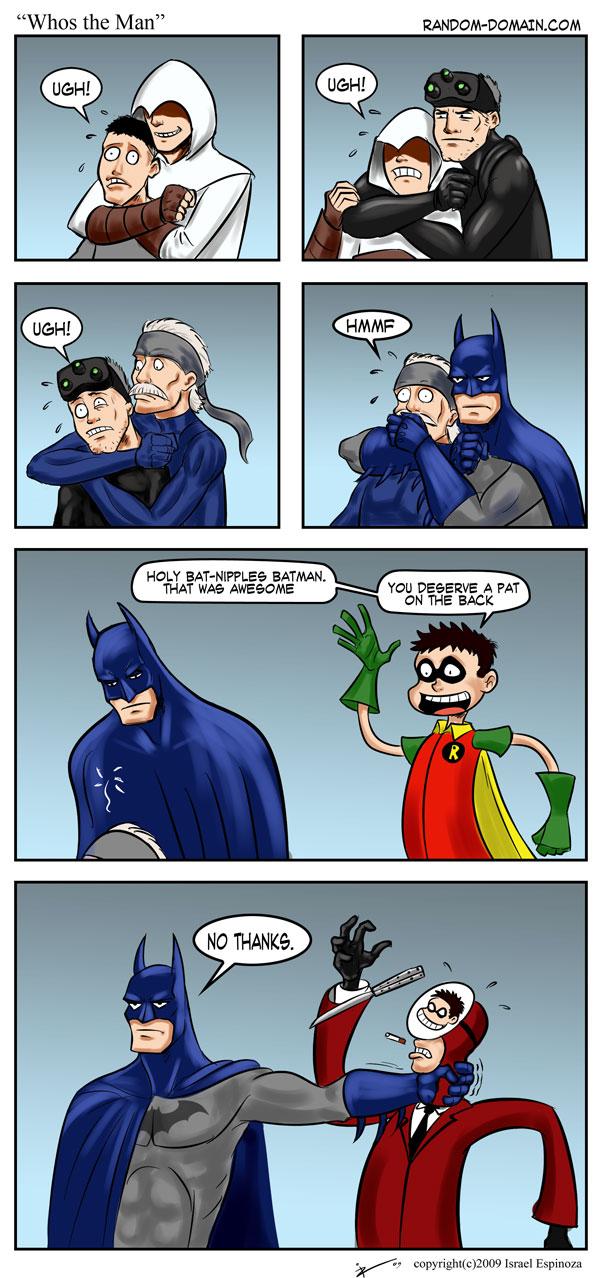 Batman pwnz Splinter Cell. Whos-the-man-assassins-creed-enzio-tom-clancy-spinter-cell-metal-gear-solid-snake-batman-robin-team-fortress-spy