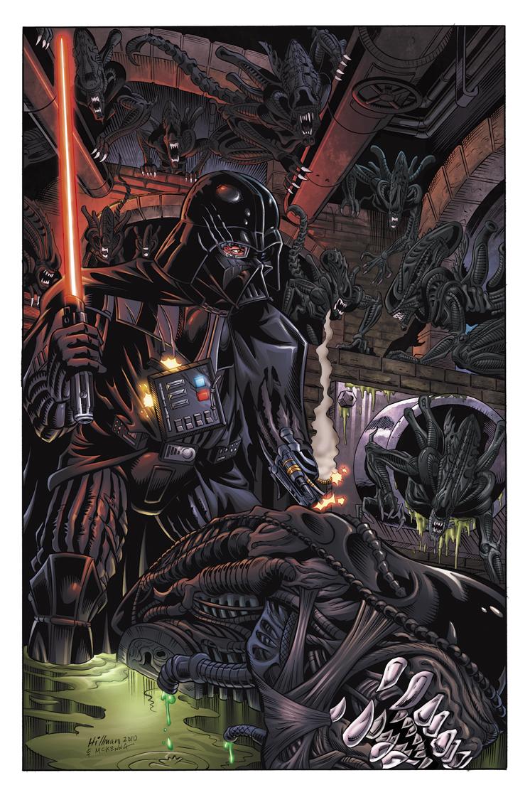"Tolle StarWars Bilder ""Best of"" - Seite 6 Alien-vs-vader-david-hillman-mark-mckenna-tom-chu-star-wars-predator-colordojo-comics"