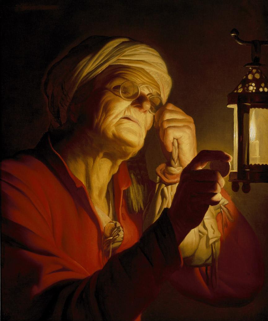 Objets perdu Vieille-Femme-examinant-une-pi-ce-de-monnaie-la-lumi-re-d-une-lanterne-