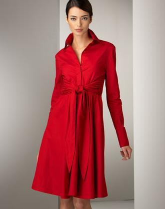 لعشاق اللون الأحمر Poplin-dress