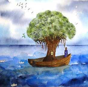 La pirogue et l'arbre  La-pirogue-et-larbre-aquarelle-de-valerie-weishar-giuliani-292x287