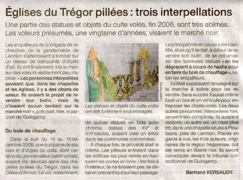 Pillage des statues des chapelles du Trégor, fin 2006 Of-7-8-06-2006