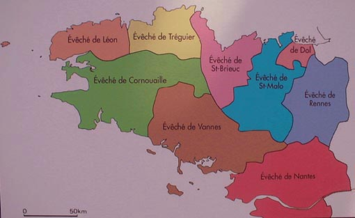 Comtés bretons Bretagne-eveches-carte
