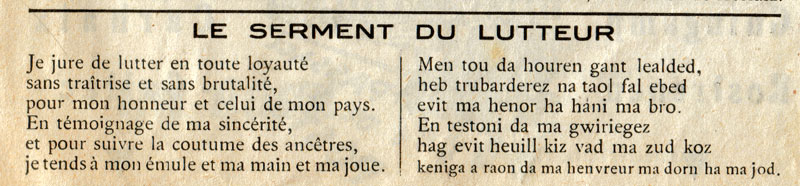 CALLAC-de-Bretagne / KALLAG Lutte-serment