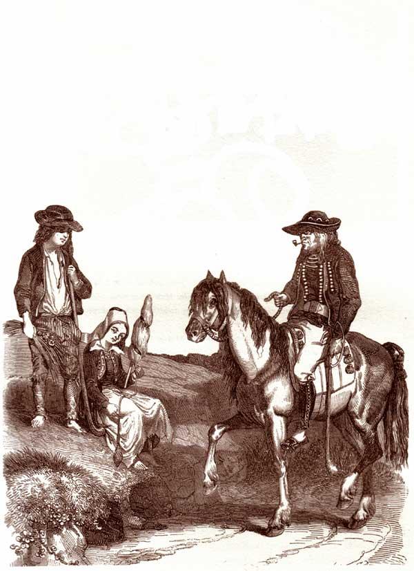Costumes d'hommes de Bretagne : Alfred De Courcy. 1842 Courcy-breton-cheval-enfants