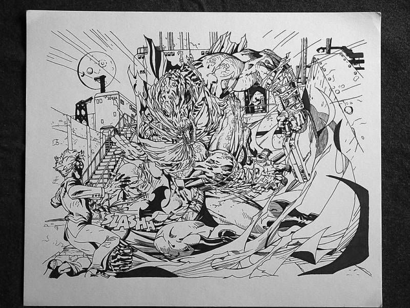 GREEN GALLERY Batman___Killer_Croc_LArge_Double_Splash_Page